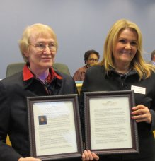 Orange County recognized Alice for her service as an Orange County Commissioner, including being BOCC Chair and Vice Chair.  Shown with Alice is Orange County Manager, Bonnie Hammersley, and seated behind them is Commissioner Renee Price.  This was Alice's last BOCC meeting in Chapel Hill, late 2014.