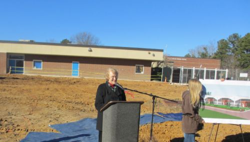 Alice speaking at the groundbreaking ceremony for Culbreth Middle School's science wing