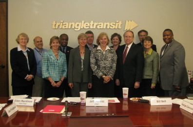 Triangle Transit Board of Trustees with three members of the North Carolina Legislature