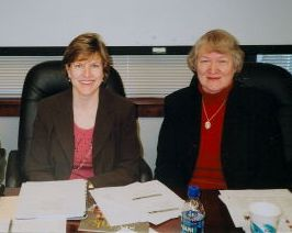 Alice chaired the Triangle Transit Board of Trustees in FY 2007.  Here she is shown with her immediate predecessor as Chair, Carter Worthy of Raleigh.