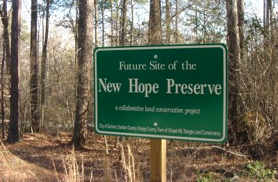 New Hope Preserve was one of the acquisitions funded by the Lands Legacy Program, the first comprehensive county land acquisition program in North Carolina